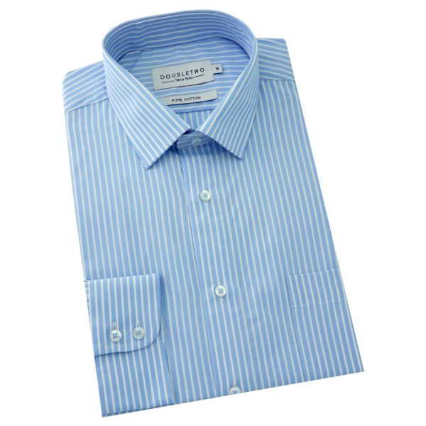 Double Two - Mens Light Blue and White Stripe Shirt
