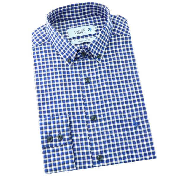 Double Two - Mens Cotton Shirt in Royal Blue Check