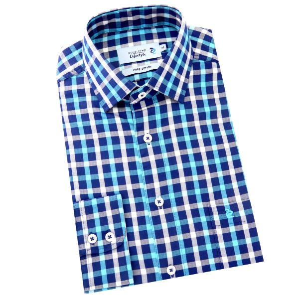 Double Two - Mens 100% cotton shirt in a Turquoise, Blue & White Check