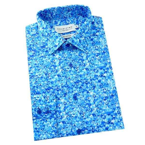 Double Two - Mens Cotton Shirt in Blue 3D Design