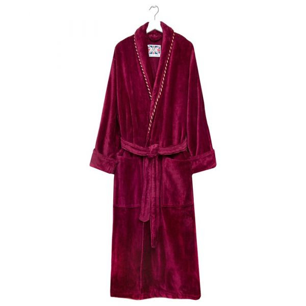 The Earl. Claret Piped Velour Dressing Gown from Bown