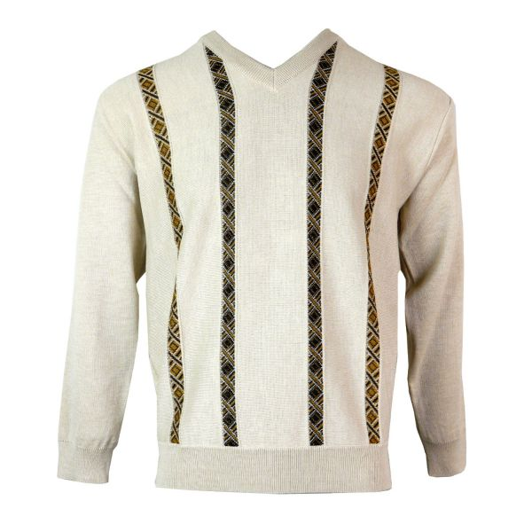 Gabicci - V Neck Jumper with Diamond Stripes