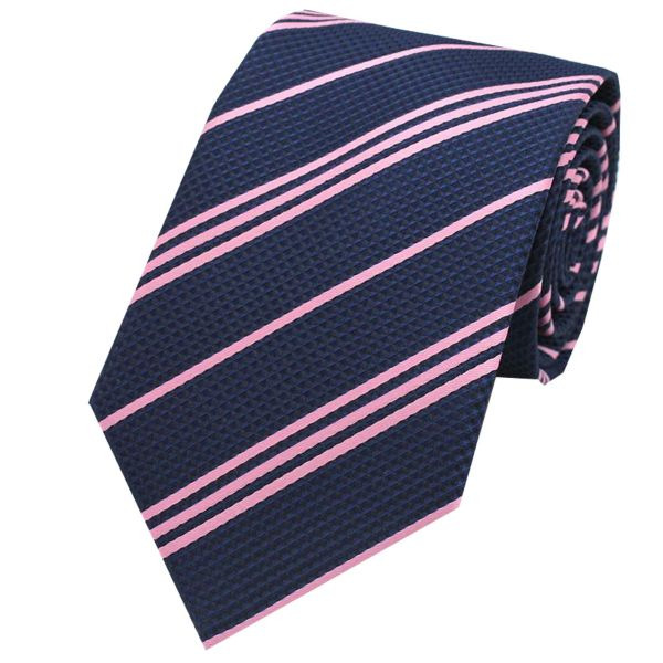 Navy Tie with Coloured Stripe Design from L A Smith