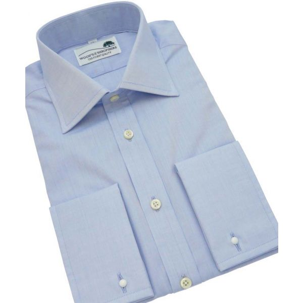 Light Blue Poplin shirt with double cuff