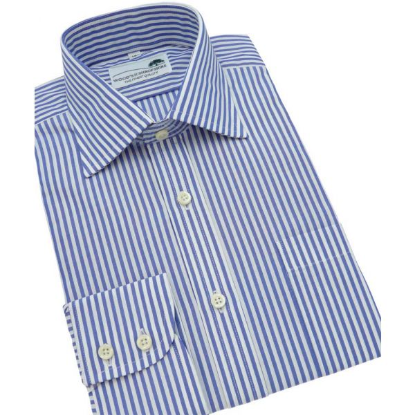 Blue Bengal Stripe Single Cuff Cotton Shirt