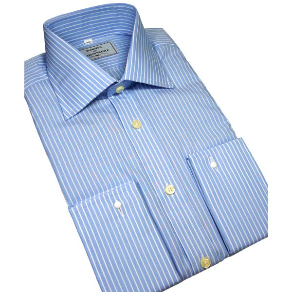 Sky Blue Reverse Bengal Stripe Cotton Classic Shirt