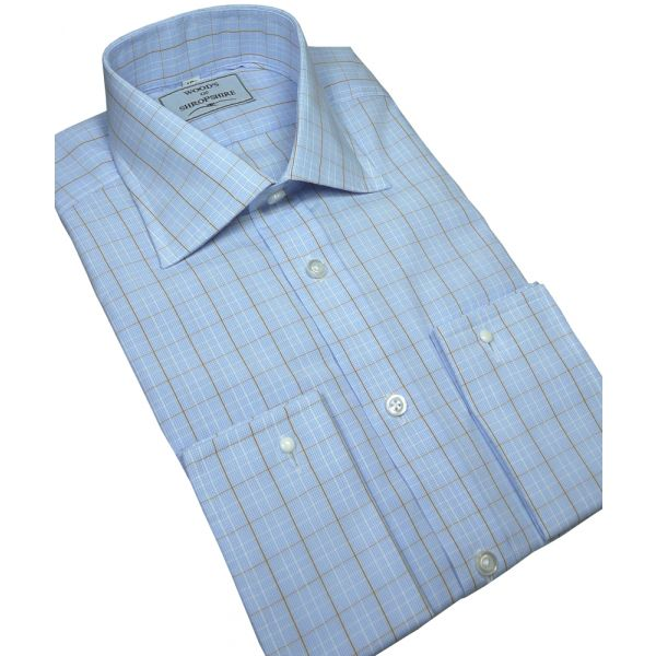 Camel Prince of Wales Check Cotton Shirt