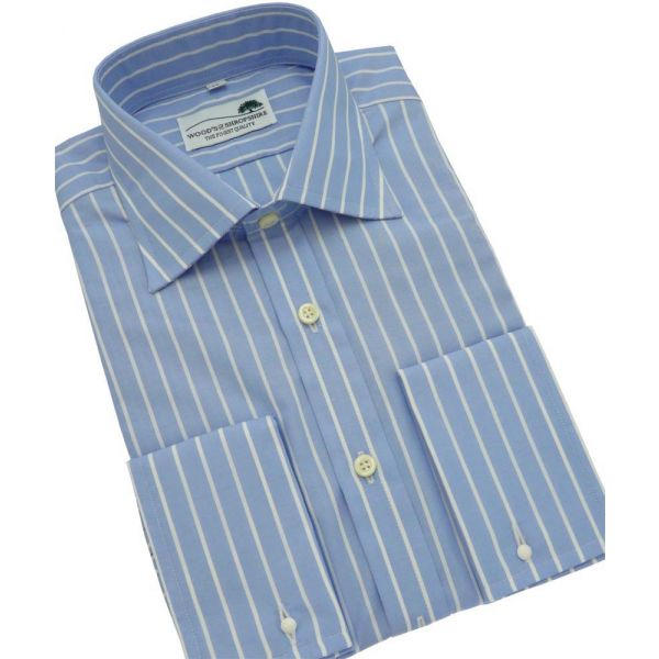 Light Blue Butcher Stripe Cotton Shirt