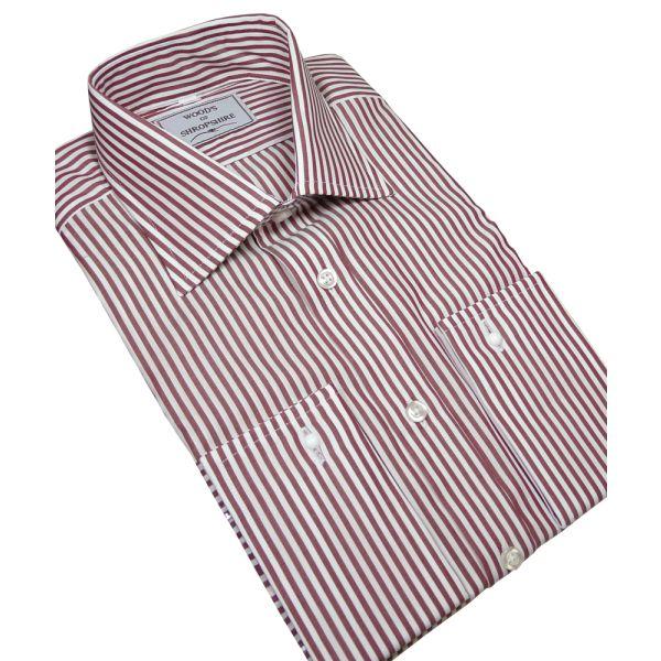 Wine Bengal Stripe Cotton Shirt