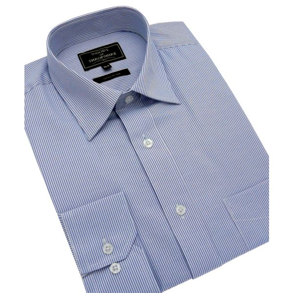Royal & White Fine Stripe Easycare Shirt
