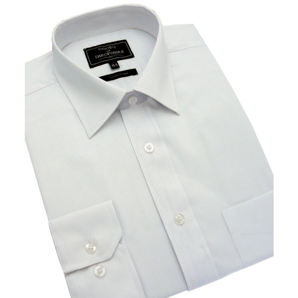 White Self Stripe Easycare Shirt