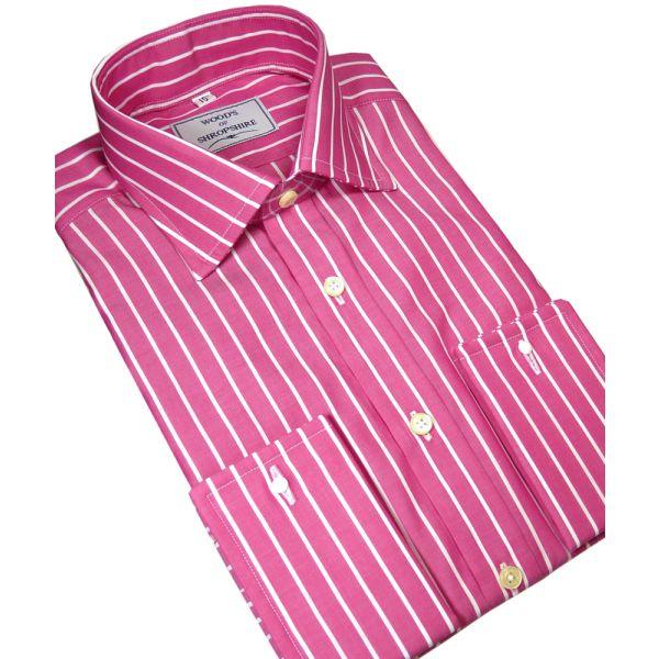 Classic Butcher Stripe Cotton Shirt in Magenta.