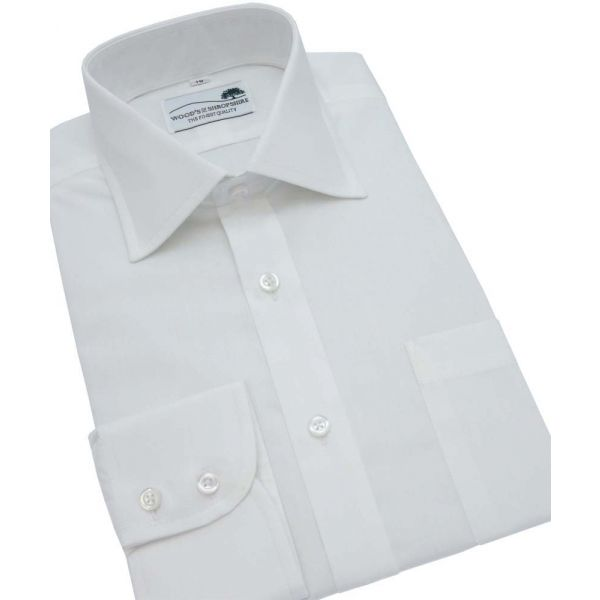 White Cotton Shirt Single Cuff