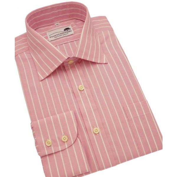 Pink Stripe Single Cuff Cotton Shirt