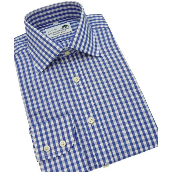 Blue Gingham Check Single Cuff Cotton Shirt