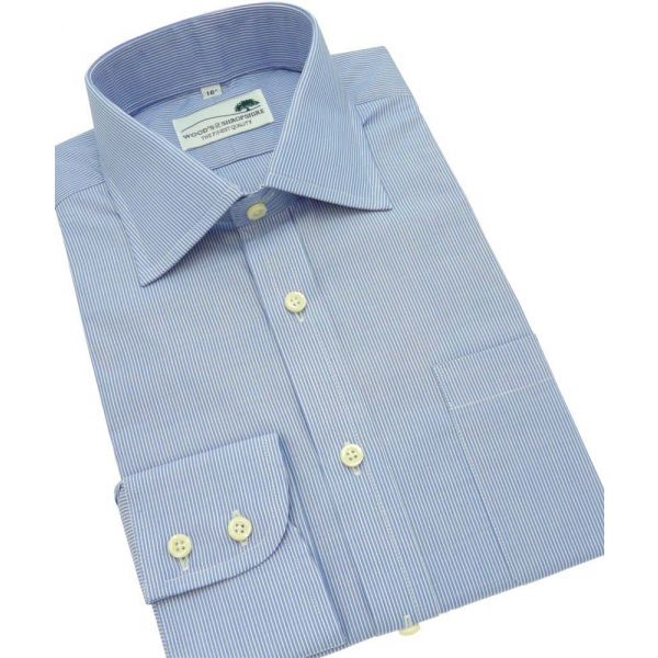 Blue Fine Stripe Single Cuff Cotton Shirt