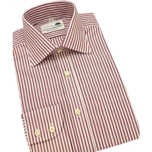 Wine Bengal Single Cuff Cotton Shirt