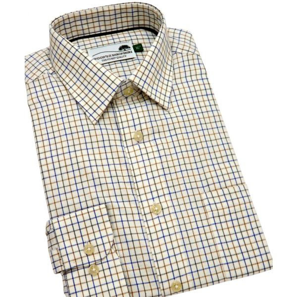 Navy Green & Brown Fine Country Check Cotton Shirt from Woods of Shropshire