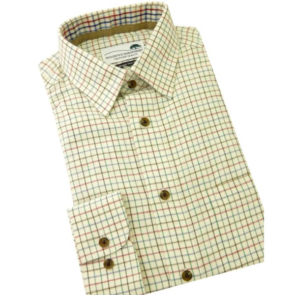 Fine Green Country Check Warm Handle Cotton Shirt from Woods of Shropshire