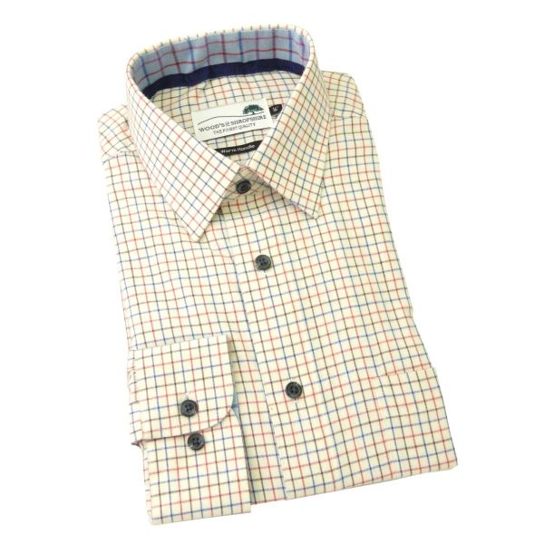 Blue and Red Tattersall -  Warm Handle Cotton Shirt from Woods of Shropshire