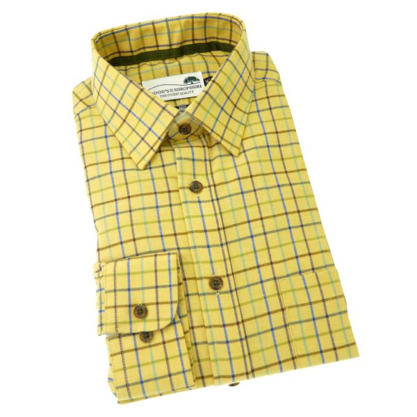 Gold Tattersall -  Warm Handle Cotton Shirt from Woods of Shropshire