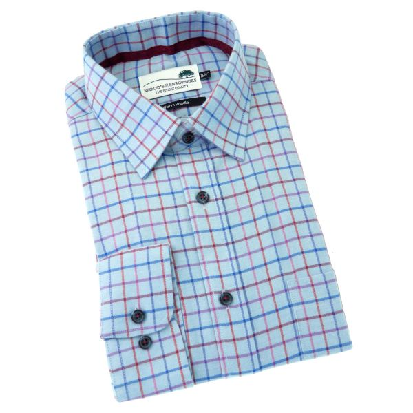 Blue Tattersall -  Warm Handle Cotton Shirt from Woods of Shropshire