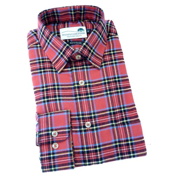 Red Tartan -  Warm Handle Cotton Shirt from Woods of Shropshire