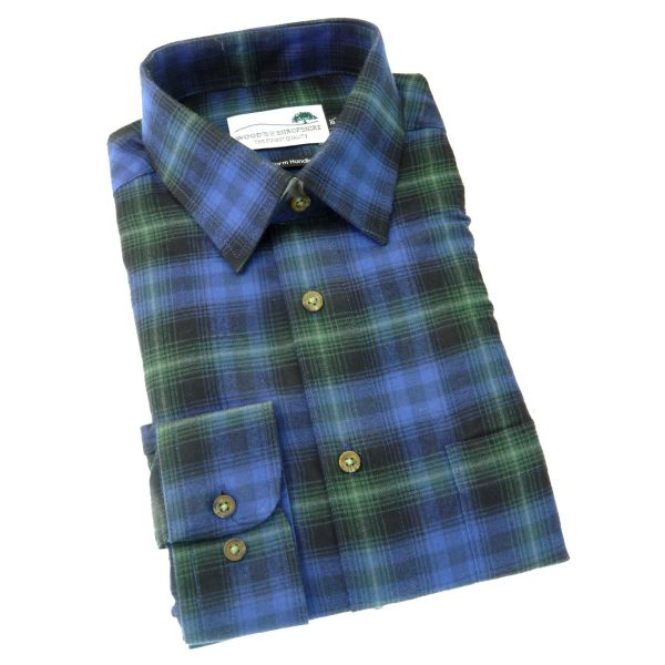 Blue Tartan -  Warm Handle Cotton Shirt from Woods of Shropshire