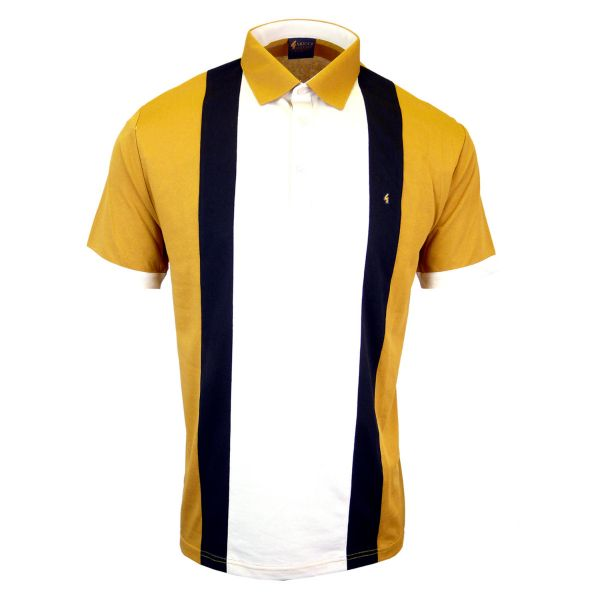 Classic Gabicci Polo Shirt with Wide Centre Stripe