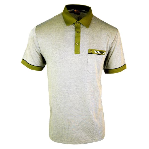 Classic Gabicci Polo Shirt Mottled Shade with Collar Pocket and Sleeve Trim-Oatmeal-M