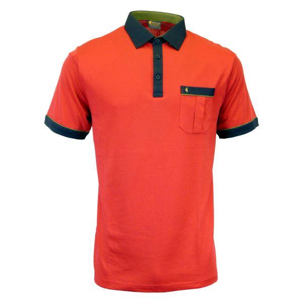 Classic Gabicci Polo Shirt With Contrast Colar and Trim-Lava-M