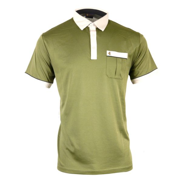 Classic Gabicci Polo Shirt With Contrast Colar and Trim-Raffia-M