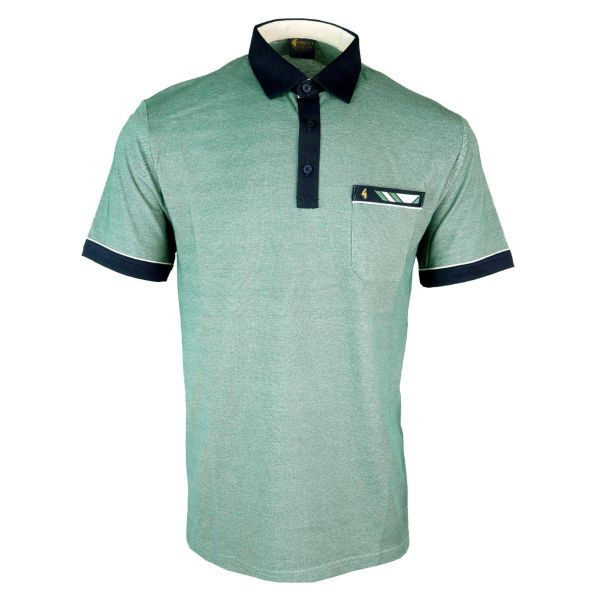 Classic Gabicci Polo Shirt Mottled Shade with Collar Pocket and Sleeve Trim-Pine-M