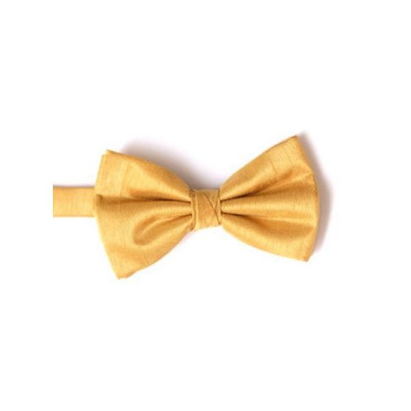 Gold Polyester Shantung Men's Bow Tie