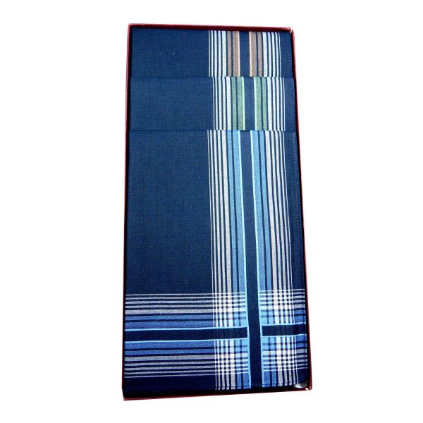 Three Deep Colour Cotton Hankies with Multi Stripe Wide Border from Guasch