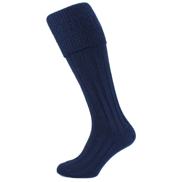 Wool Rich Navy Kilt Socks From HJ Hall