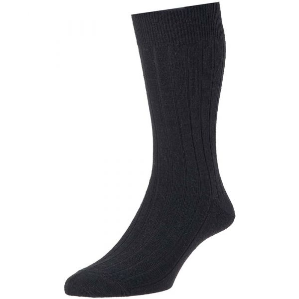 Black Executive Wool Rich Sock from H J Hall