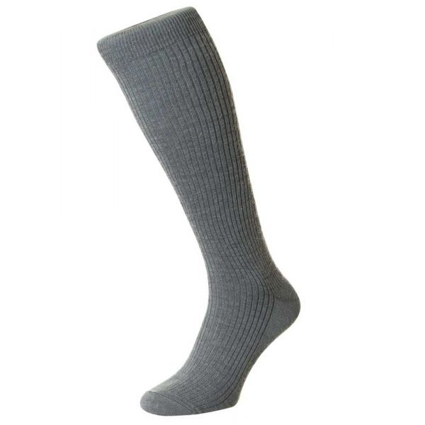 Mid Grey Immaculate Long Wool Rich Sock from H J Hall