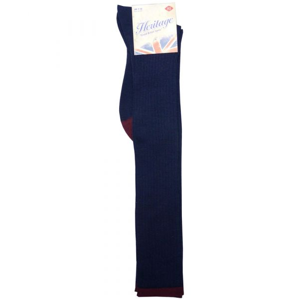 Long Wool Sock in Navy with contrast top & toe.