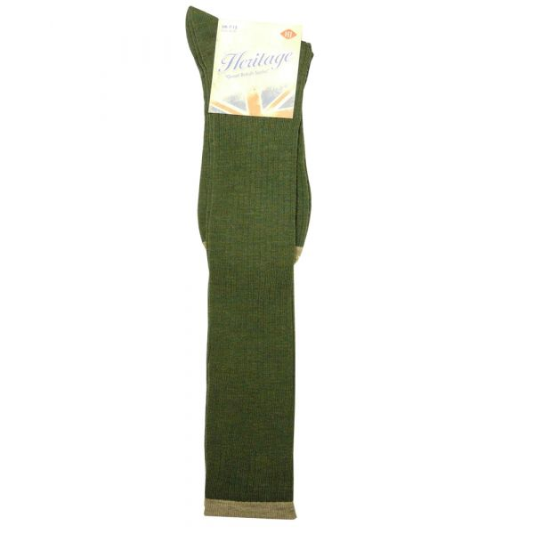 Long Wool Sock in Sage with contrast top & toe.