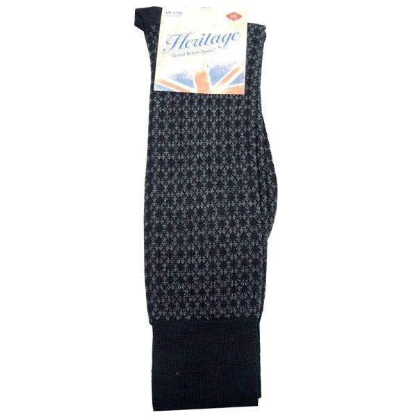 Mid Calf Black Mini Argyle Wool Sock