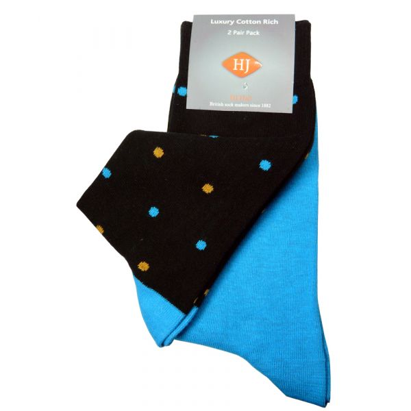 Black Spot and Turquoise Two Pair Pack from H J Hall