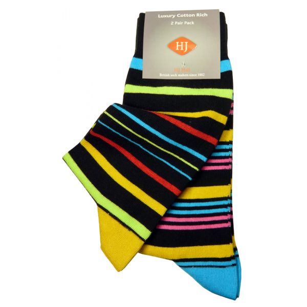 Black and Yellow Stripe Two Pair Pack from H J Hall