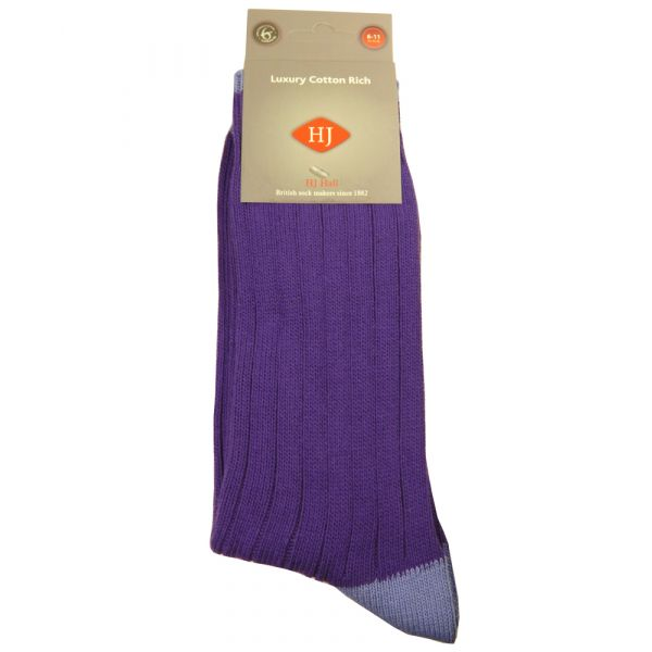 Violet with Cornflower Heel & Toe Cotton Socks from H J Hall.