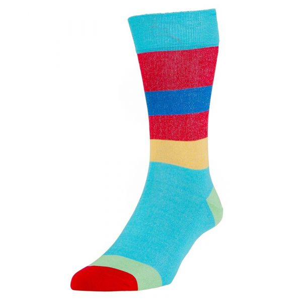 Turquoise Miami Stripe Cotton Socks from H J Hall