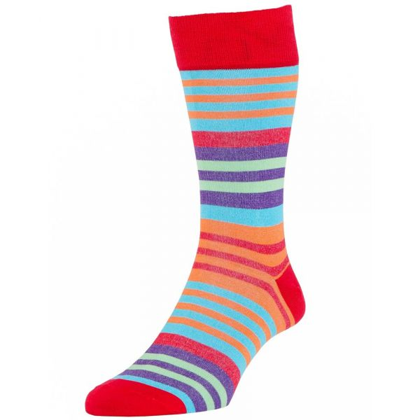 Scarlet Toronto Stripe Cotton Socks from H J Hall