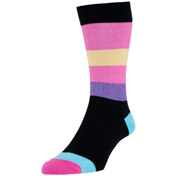 Black Miami Stripe Cotton Socks from H J Hall