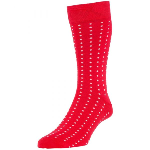 Scarlet Vancouver Spotted Cotton Socks from H J Hall