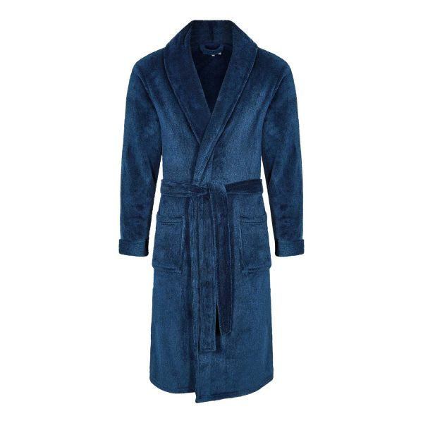Holburn - Mens Navy Hooded Fleece Gown from Champion