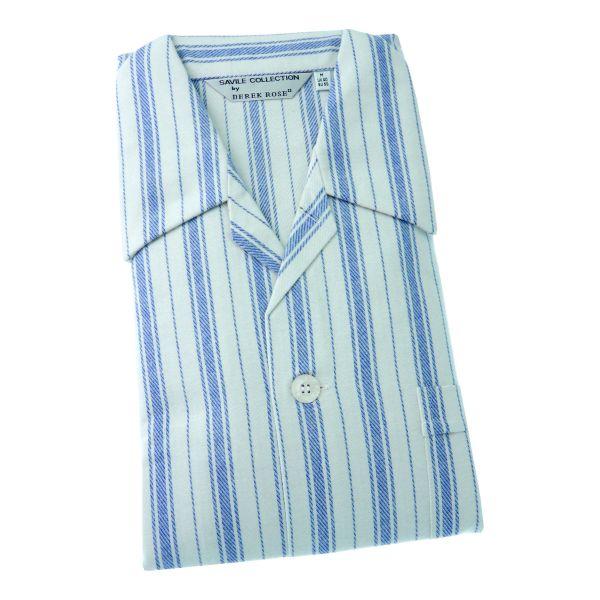 Derek Rose - HP1 - Mens Brushed Cotton Pyjamas in Ivory and Blue Stripe - Tie Waist
